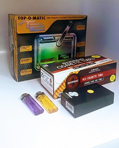 T2 Top-O-Matic Cigarette Rolling Machine+ FREE Shargio tubes, Case & lighters (Best Cigarette Making Machine)