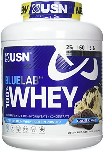 USN Supplements Bluelab 100 Percent Whey, Cookies Cream, 4.5 Pound