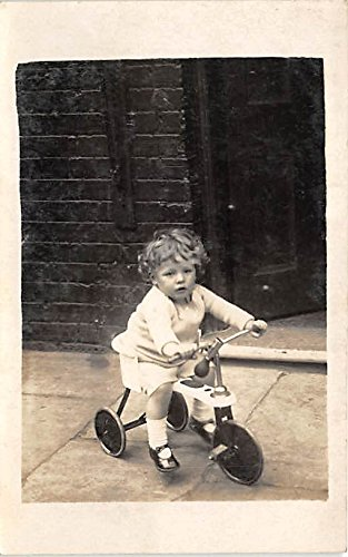 State Tricycle - Child on tricycle Real Photo Bicycle Postcard