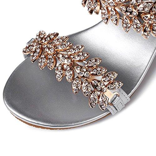 Negro de Shoes Sandalias Chanclas talón el mujer noche Sandalias Plata ocasional de del moda Club Fiesta diamantes Oro vestido de imitación Summer GAOLIXIA de para grueso de Rhinestone Plata BnBAFq8r
