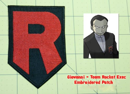 Vulpix Costume Cosplay (Team Rocket R Embroidered Iron/Sew on Patch 4 Inch Black Pokemon Badge Applique Costume Giovanni Cosplay)
