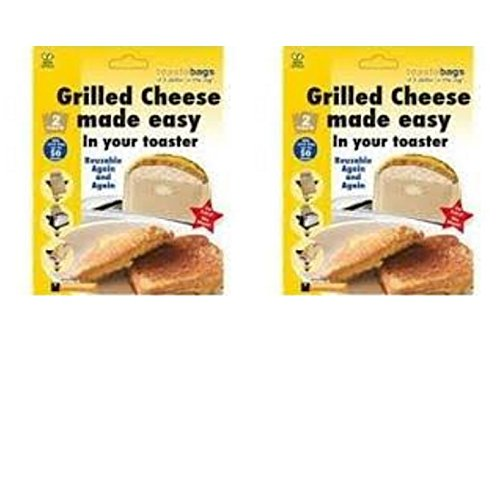 No mess Grilled Cheese Toast a bag for your toaster 2 Pack of 2 Reusable