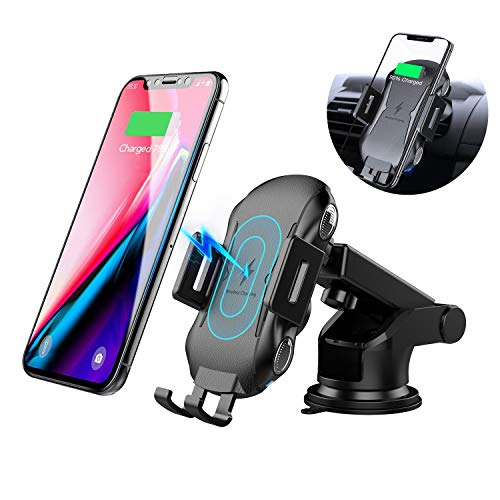 Wireless Car Charger Mount, XSHNUO Automatic Clamping 7.5W /10W Fast Charging Car Phone Holder, Windshield Dashboard Air Vent Compatible with Samsung Galaxy S10, iPhone Xs (Black-Auto)