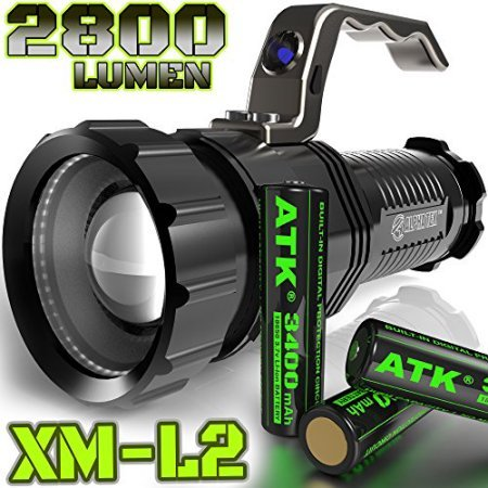 ALPHA TEK 2,800 Lumen | HIGH Output | Rechargeable | ZOOMABLE Floodlight to Spotlight | X-Lamp XM-L2 CREE LED (20% Brighter Than T6 LED) Tactical Flashlight | Batteries Included | (with Batt)