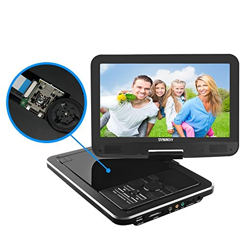 SYNAGY 10.1' Portable DVD Player CD Player with Swivel Screen Remote Control Rechargeable Battery...