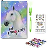 SmitCo LLC Journals for Girls - Diary Gift Set For Kids 5 Years and Over - Light-Up Unicorn Notebook With Blank Lined Pages, Stickers and Invisible Ink Pen With Blue Light To Keep Her Secrets Safe