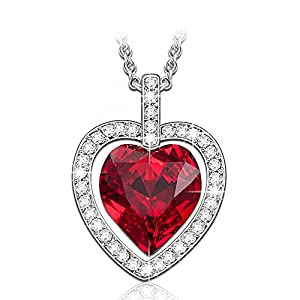LadyColour Swarovski Crystals Heart Pendant Necklace,Women Jewelry for Christmas Day,Valentine's Day