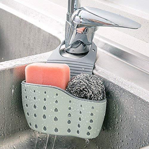 Kitchen Sink Shelf Soap Sponge Drain Rack Holder Double Decker Hanging Basket Storage Suction Cup Kitchen Organizer Sink Accessories Wash Dropshipping 1Pcs (Blue) (Accessories Kitchen Hanging)