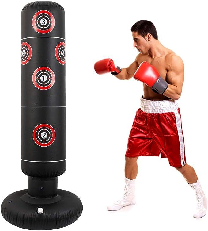 Keyohome Saco de boxeo inflable de pie, saco de boxeo de pie, saco de arena de fitness de 160 cm para adultos y niños