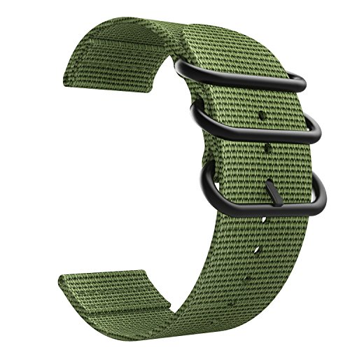Nylon Connector Straight (Emibele 20mm Universal Watch Band, Fine Woven Nylon with Stainless Steel Buckle Adjustable Replacement Band for 20mm Sport Strap, Army Green)