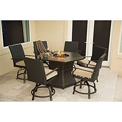 Hanover Aspen Creek Bar Height Fire Pit Dining Set - Additional limited-time savings reflected in current price 7-piece set seats 6 for dining Cast-aluminum frames resist rust and weathering - patio-furniture, dining-sets-patio-funiture, patio - 513TJa%2BO2YL. SS400  -
