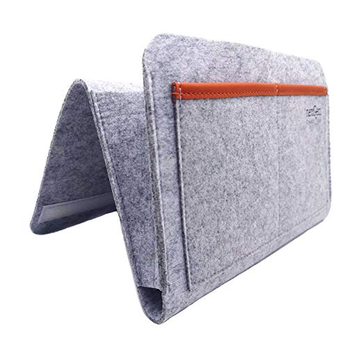 nexGen Creations Style 'n Substance Bedside Caddy – Multi-Attachment Hanging Storage for Bed Rails, Dorms, Bunk Beds – Organizer for Book, Tablet, Remote. Durable Felt & PU Leather Material