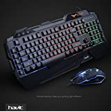 HAVIT Rainbow Backlit Wired Gaming Keyboard and Mouse Combo (Black) [Updated Version]