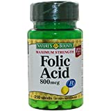 Nature's Bounty Folic Acid 800 mcg Tablets Maximum Strength 250 ea (Pack of 5)
