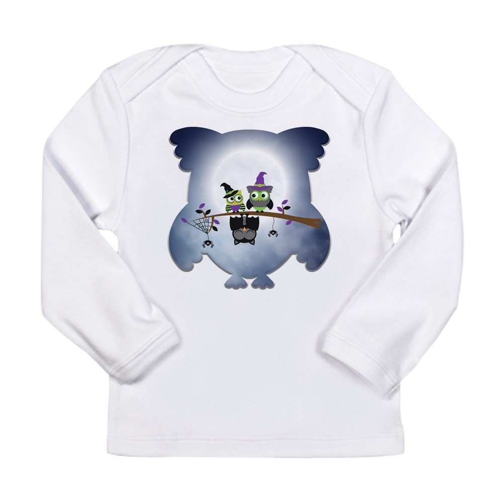 3 To 6 Months Cloud White Truly Teague Long Sleeve Infant T-Shirt Little Spooky Vampire Owl With Friends