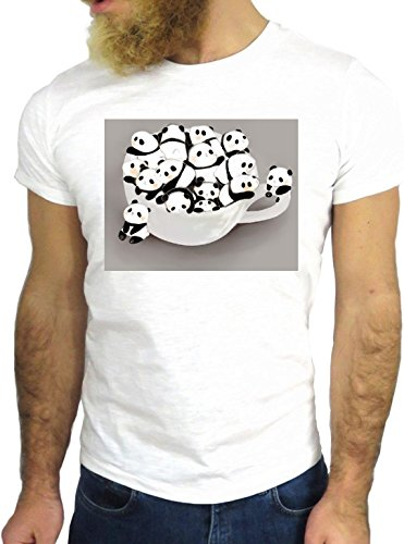 T SHIRT JODE Z1891 PANDAS MUG HAPPY SWEET GIRLY FUN ENJOY COOL FASHION NICE GGG24 BIANCA - WHITE L