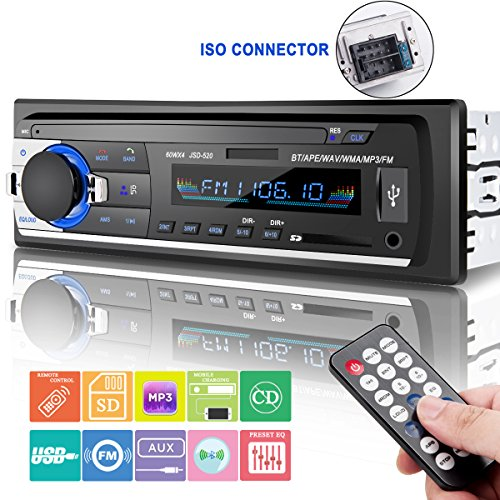 Car Stereo with Bluetooth, Huicocy In-Dash Single Din Car Radio Receiver,Car MP3 Player/USB/SD/AUX/FM Radio with Wireless Remote (60w Single Channel)