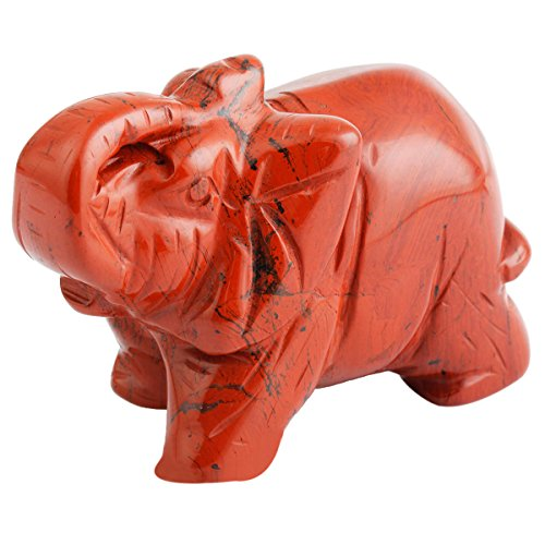 Amulet Elephant - SUNYIK Red Jasper Elephant Pocket Carving Bookend Amulet Figurine Decor 2