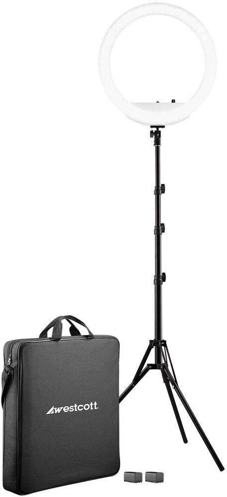 """Westcott 18"""" Bi-Color LED Ring Light Kit with Batteries and Stand Professional Studio Continuous Lighting for Photography, Video Conferencing, and Video Production"""