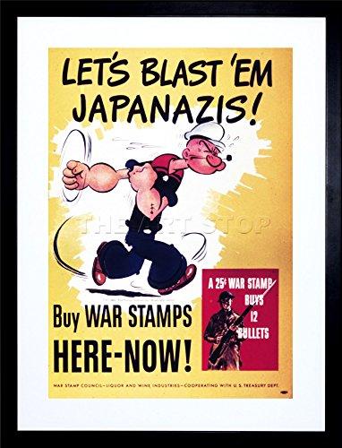 9x7 '' PROPAGANDA WAR WWII USA POPEYE STAMPS BULLETS FRAMED ART PRINT F97X1011 (Stamp Framed)