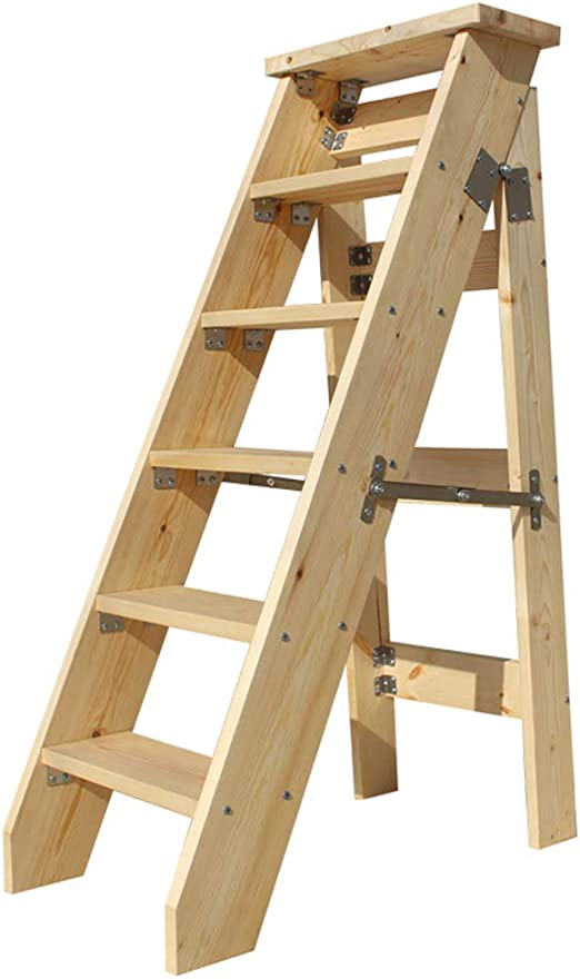 Multifunción Escalera de estantería Madera maciza Escaleras de tijera Con seguridad Antideslizante Pedal ancho Silla plegable de escaleras, Herramienta de jardín para el hogar (tamaño: 6 niveles): Amazon.es: Hogar