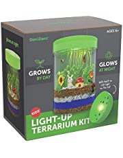 Light-up Terrarium Kit for Kids with LED Light on Lid - Science Kits for Boys & Girls - Gardening Gifts for Children - Kids Toys - Create Your Own Customized Mini Garden in a Jar That Glows at Night