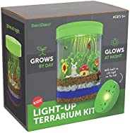 Light-up Terrarium Kit for Kids with LED Light on Lid - Create Your Own Customized Mini Garden in a Jar That G