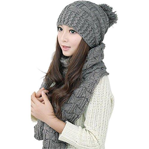 Winter Hat Scarf Cute Knit Crochet Beanies Cap Hats For Women Grey