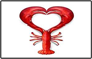 Outside Floor Rug Seafood Love as a boiled shaped as a heart as a for fresh sea food from the or promoting a fish dinner or marketing a menu Indoor Outdoor Doormat Non Slip Front Door Mat