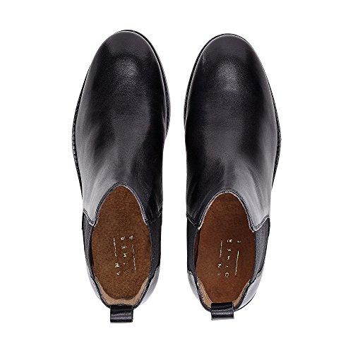Another A Damen Chelsea-Boots Aus Leder, Schwarze Stiefelette mit Leichter Profilsohle Schwarz