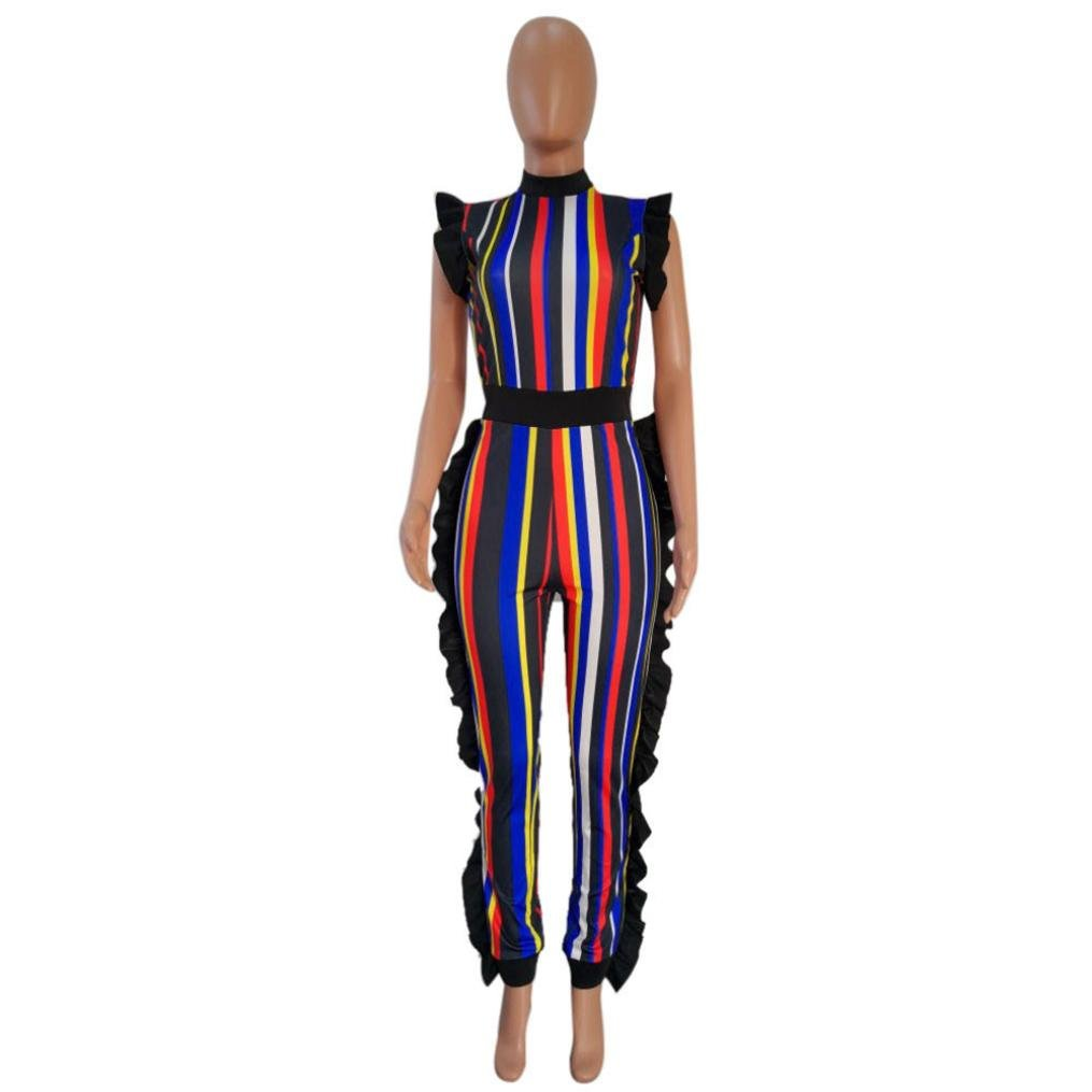 AIMTOPPY HOT Sale, Women Summer Sleeveless Ruffled Colorful Striped Club Party Casual Jumpsuit (L, Red)