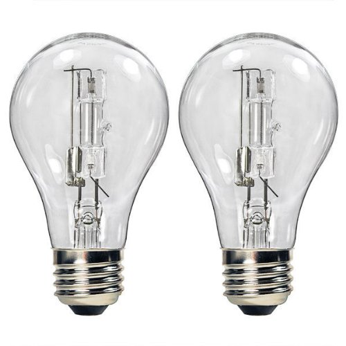 - Bulbrite 115042 - 43 Watt Halogen Light Bulb - A19 - Clear - 1,000 Life Hours - 750 Lumens - 120 Volt - 2 Pack