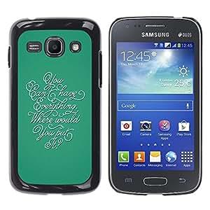 TopCaseStore / la caja del caucho duro de la cubierta de protección de la piel - Calligraphy Everything Teal Thought Inspiring - Samsung Galaxy Ace 3 GT-S7270 GT-S7275 GT-S7272