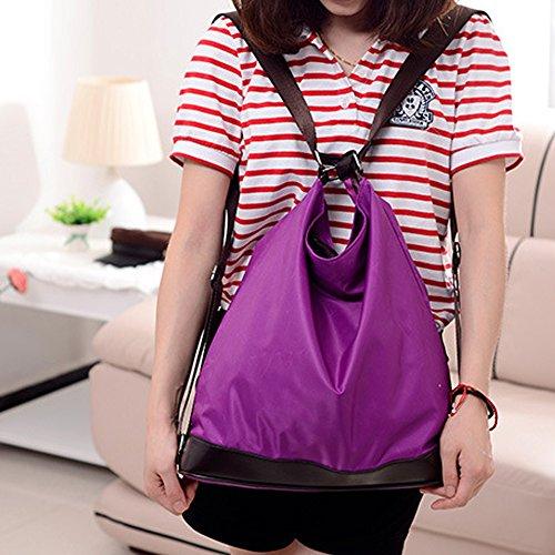 Millya Bolso para mujer, nailon, bolso al hombro, bolso multifuncional, convertible en mochila morado