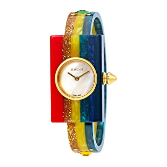 0fcfeb9ecd6 Amazon.com  Gucci Plexiglas Ladies Studded Bangle Watch YA143520 ...