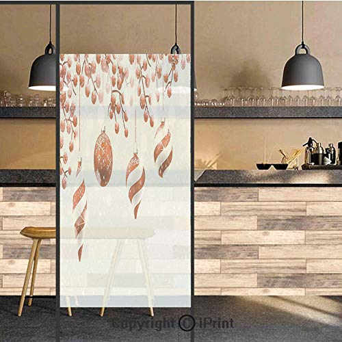 - 3D Decorative Privacy Window Films,Traditional Decoration Icons Holly Berry Branches with Snow and Bokeh Effect Print Decorative,No-Glue Self Static Cling Glass Film for Home Bedroom Bathroom Kitchen