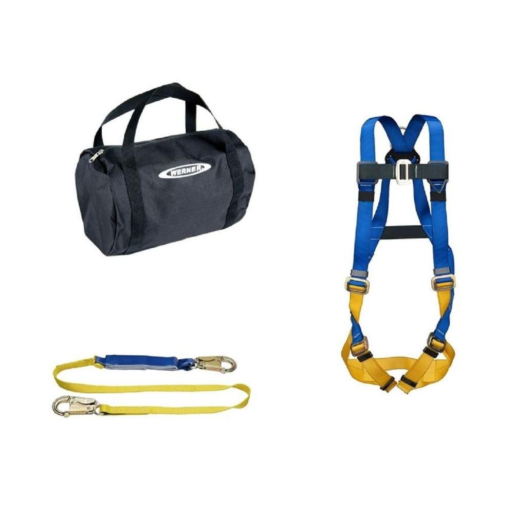 Werner K121013 Aerial Kit with Basewear Std Harness, 6-Foot DeCoil Lanyard, 1per Pack