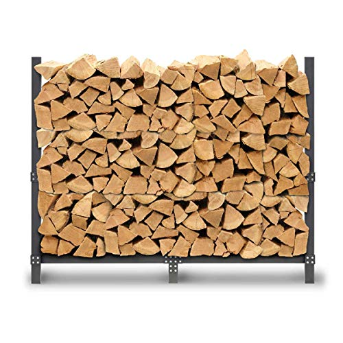 """Pilgrim Home and Hearth 19433 Pro 60"""" Rack Outdoor Firewood Log Holder with Cover, Durable Black Powder Coat"""