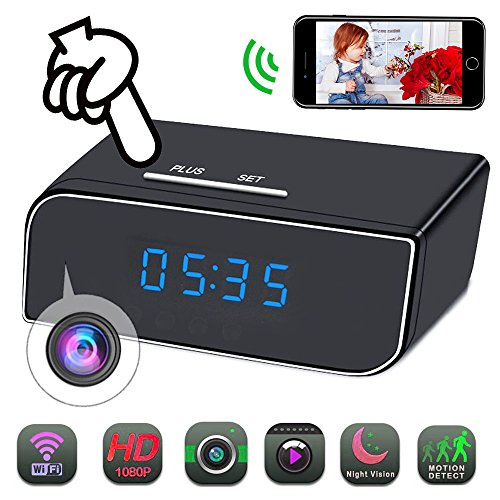 2018 New Spy Camera Clock WiFi Hidden Camera HD 1080P Mini Small Wireless Camera Pinhole Home Security Surveillance Nanny Cam with 12 Pcs IR Night Vision, Motion Detection Alarm