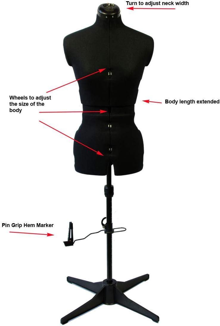 Manichino Sew Simple per Sartorie Colore : Nero UK 10-16 Misura: Piccolo Adjustoform 023816//Black