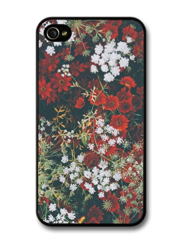 Rustic Retro Vintage Floral Photograph Pattern with Red and White case for iPhone 4 4S