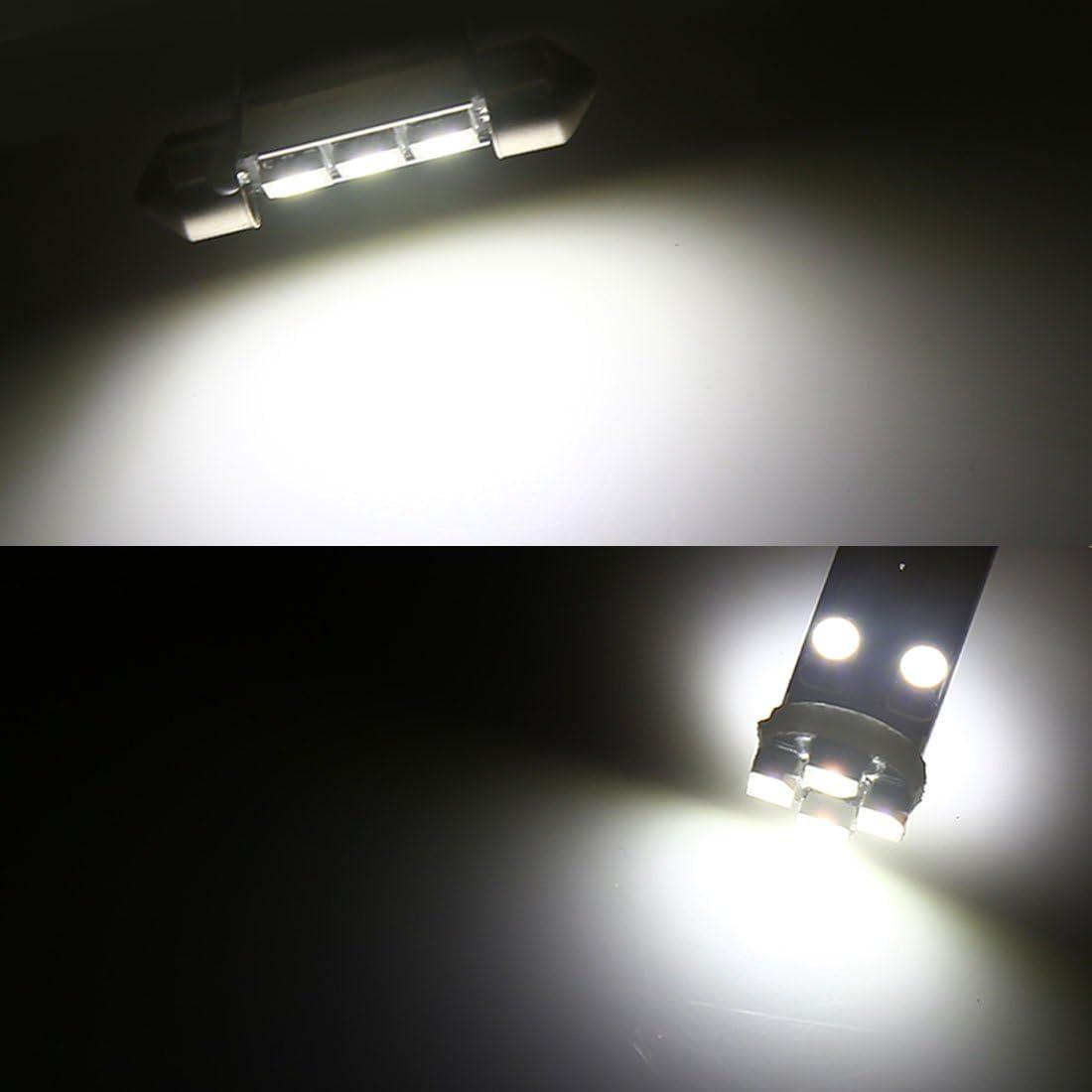 sourcingmap BA9S T10 Canbus Bombilla de Coche Interior Techo Mapa Blanco LEDs Luz