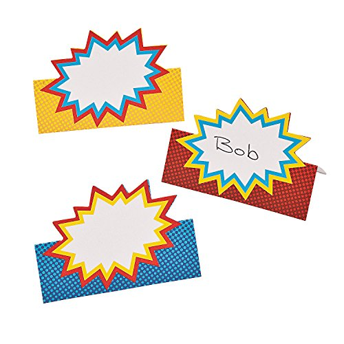 Fun Express - Superhero Placecards (24pc) - Party Supplies - Favors - Placecards And Holders - 24 -