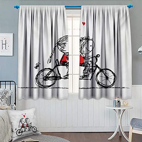 Bicycle Thermal Insulating Blackout Curtain Children Love Couple Cycling Together Soul Mates Valentines Sketchy Print Patterned Drape For Glass Door 55