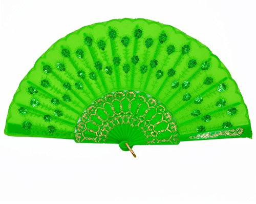 Amajiji Womans Folding Fans ,Handmade Embroidered Flower Peacock Pattern Sequin Fabric Folding Fans (Green)