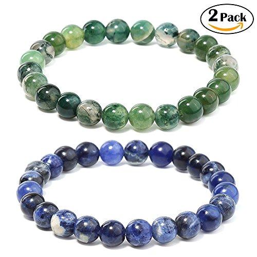 Genuine Precious Stone (Merymall Stone Bracelet, Natural Gemstones Bracelet Lava Diffuser Bracelet,Genuine Howlite and Tiger Eye Semi-Precious Stone Healing Power Crystal Stretch Beaded Bracelet,Unisex)