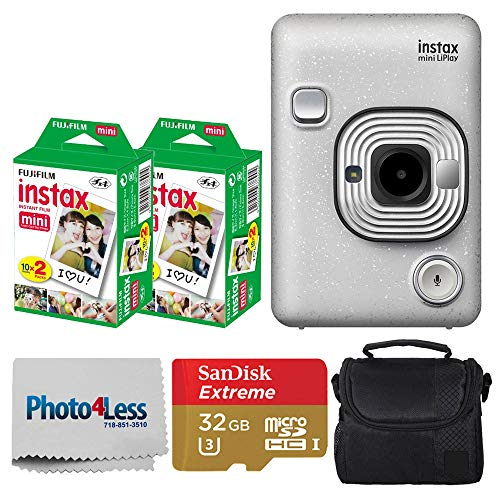 Fujifilm Instax Mini LiPlay Hybrid Instant Camera (Stone White) + Fujifilm Instax Instant Film (40 Shots) + 32GB mciroSDHC Memory Card + Camera/Video Case + Photo4Less Cleaning Cloth – Deluxe Bundle