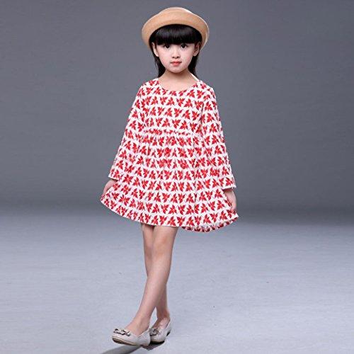 Festzug Rot Kleinkind Party Kleidung Mädchen Langarm Omiky