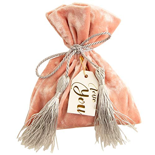 WSJKL 10 Packs Halloween Sweet Bag Candy Box Velvet Pink Tassel -