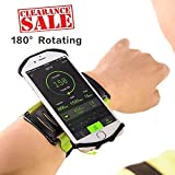 Yimaler Running Wristband Phone Holder for iPhone X/8/8Plus 7/7 Plus/6S/6/5S/SE Samsung Galaxy S8/S7 Edge 180°Rotating for 4''- 6'' Running Hiking Jogging Cycling Workout Green